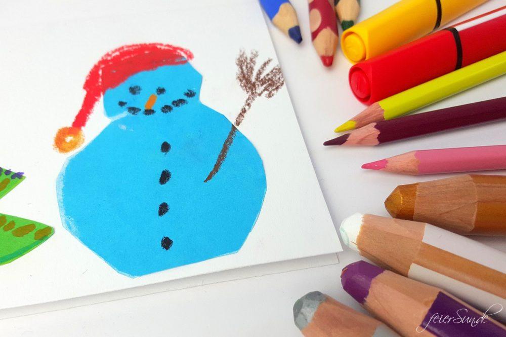 Handgemacht - Weihnachtskarten Schneemann