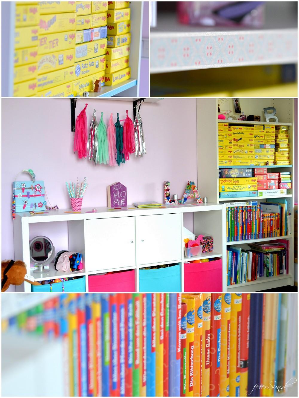 Mädchenzimmer Regalseite Bürcher Spiele Sideboard