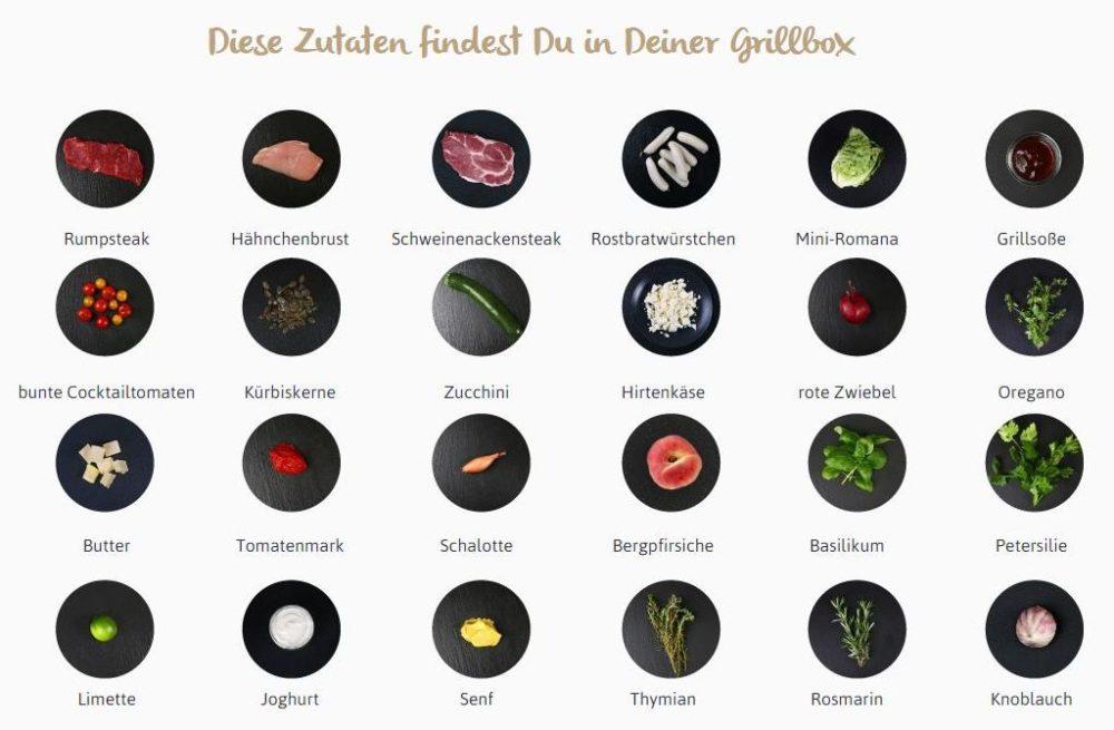 Grillbox_Alle an einen Tisch mit der Grillbox_Inhalt_Lieferung_aus der Kochzauber Grillbox 2016