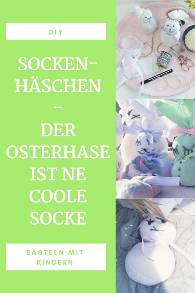 Der Osterhase ist in diesem Jahr eine verdammt coole Socke! Ein super schelles DIY um aus traurigen Einzelsocken super suesse Osterhasen zu basteln. Mit Kurzanleitung zum Download