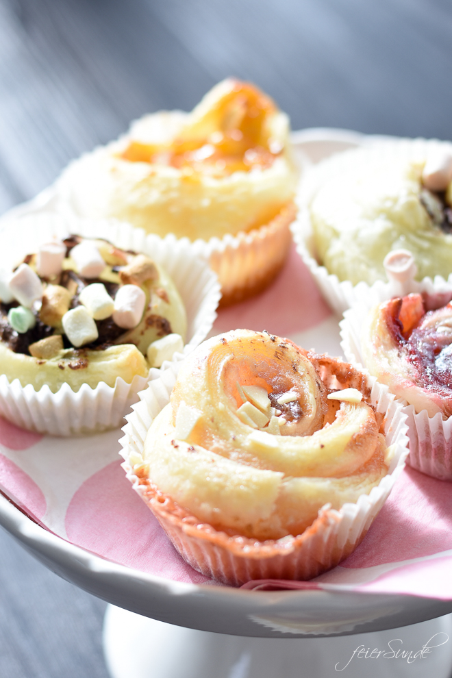 Super einfache Blätterteigschnecken mit süßer Füllung. Backen mit Kindern. Blätterteigmuffins als Partyfood. Schnell und einfach // Rezept Bltterteigmuffins // feierSun.de Familienblog - Lifestyle-Blog