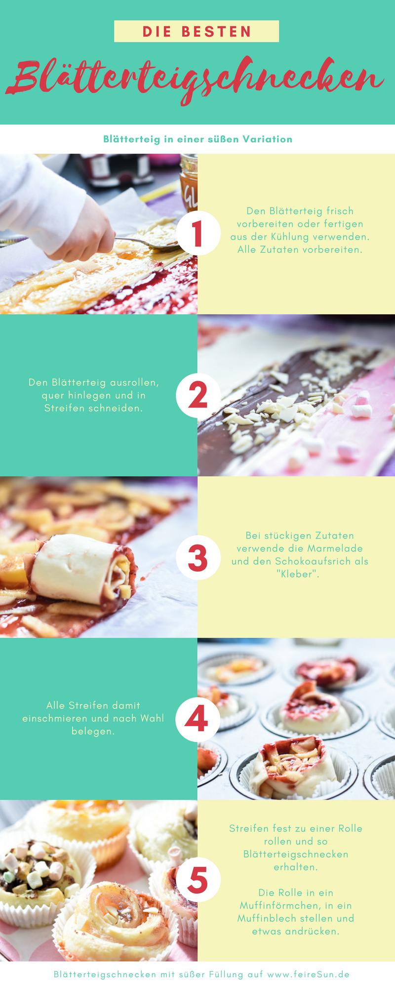 Super einfache Blätterteigschnecken mit süßer Füllung. Backen mit Kindern. Blätterteigmuffins als Partyfood. Schnell und einfach // Rezept auf feierSun.de Familienblog - Lifestyle-Blog