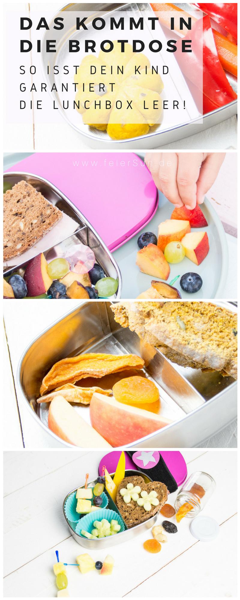 Du brauchst Inspiration dafür, was Du dem Kind in die #Lunchbox packst, damit es den Inhalt der #Brotdose auch isst? Dann hab ich hier viele Ideen, die auch wirklich gegessen werden. Das kommt bei uns rein und so isst auch Dein Kind seine #Brotbox leer! #Schule #KiGa #Kindergarten #gesundesEssen #Frühstück auf feierSun.de