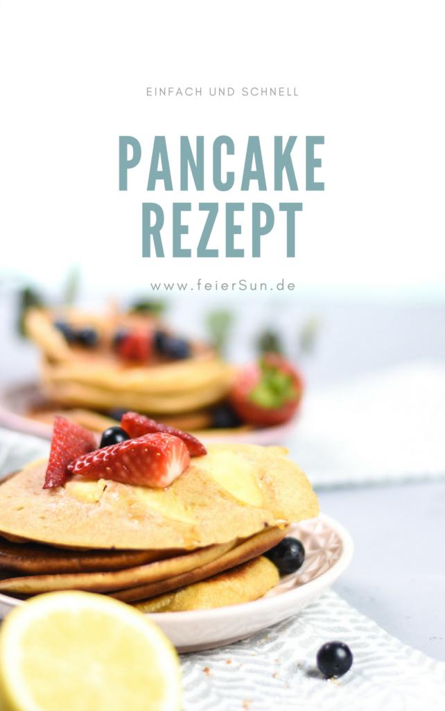 Zum Frühstück oder Mittagessen Pancakes gehen immer. Mein einfaches Pancake Rezept schmeckt und geht super schnell. Leicht, nicht zu süß da zuckerarm und einfach lecker. Einfache Pancakes wie frisch aus den USA - Am besten schmecken sie mit Ahornsirup und Butter oder mit Blaubeeren #feierSun #feierSunFood #Rezepte #Pancakes