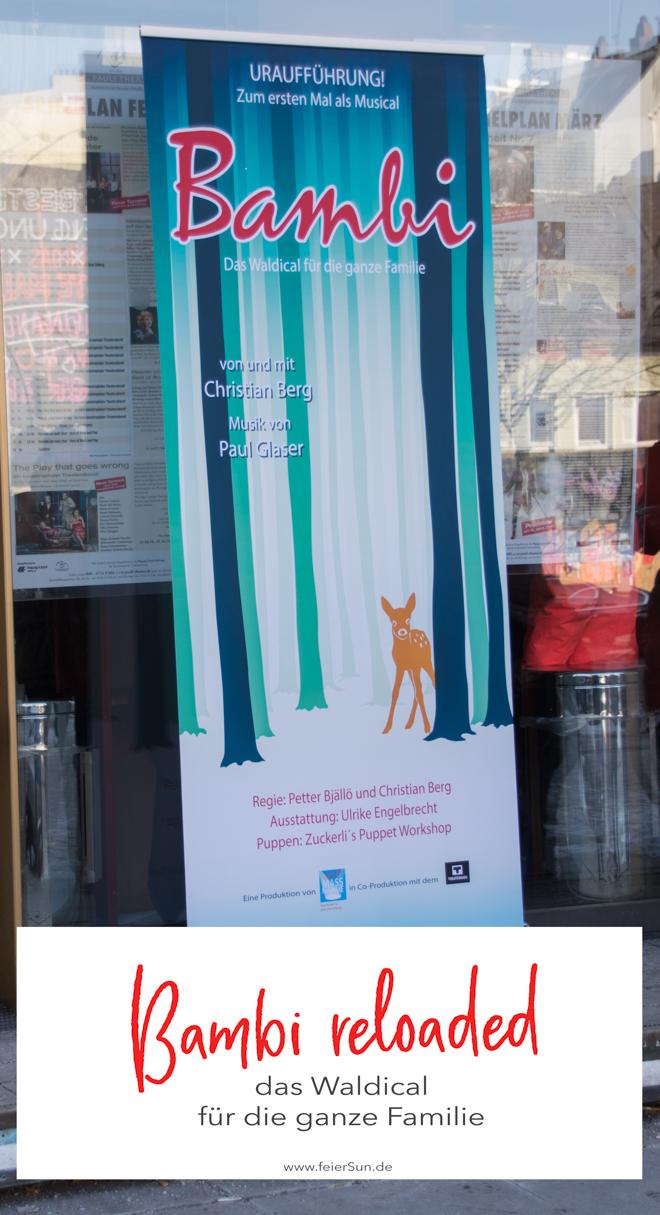 Bambi reloaded - das Waldical für die ganze Familie ist kein Stück mehr grausam, traurig und garantiert Albtraum-frei! Denn Bambi hat sich in den letzten 70 Jahren etwas verändert und so hat es dank Christian Berg endlich ein Happy End erhalten. Eines ohne Tränen und mit viel Liebe wird es im St. Pauli Theater aufgeführt. Hamburg mit Kindern als Ausflug in ein erstes Musical #feierSun #feierSunFamily #Ausflug #Theater #Musical #HamburgmitKindern #KulturmitKind