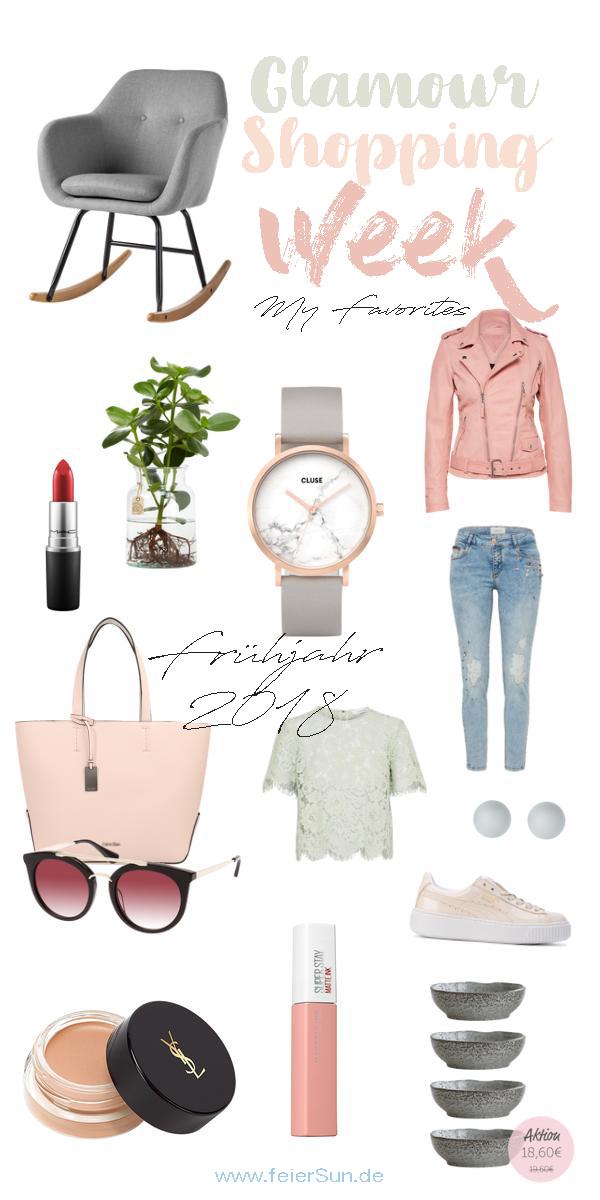 Ich zeige dir meine Favoriten der Glamour Shopping Week für das Frühjahr 2018. Denn die Glamour Shopping Week hat wieder spannende Angebote im Schlepptau. Ich hab die eine Auswahl der Angebote und meine Lieblinge dieser inklusive der Codes meiner Liebligsshops herausgesucht. Damit bekommst auch du den Frühlingstrend 2018. | #Frühlingstrend #Trend2018 #Mode #Favoriten #Fashion #MomFashion #feierSun #feierSunStyle #Inspiration