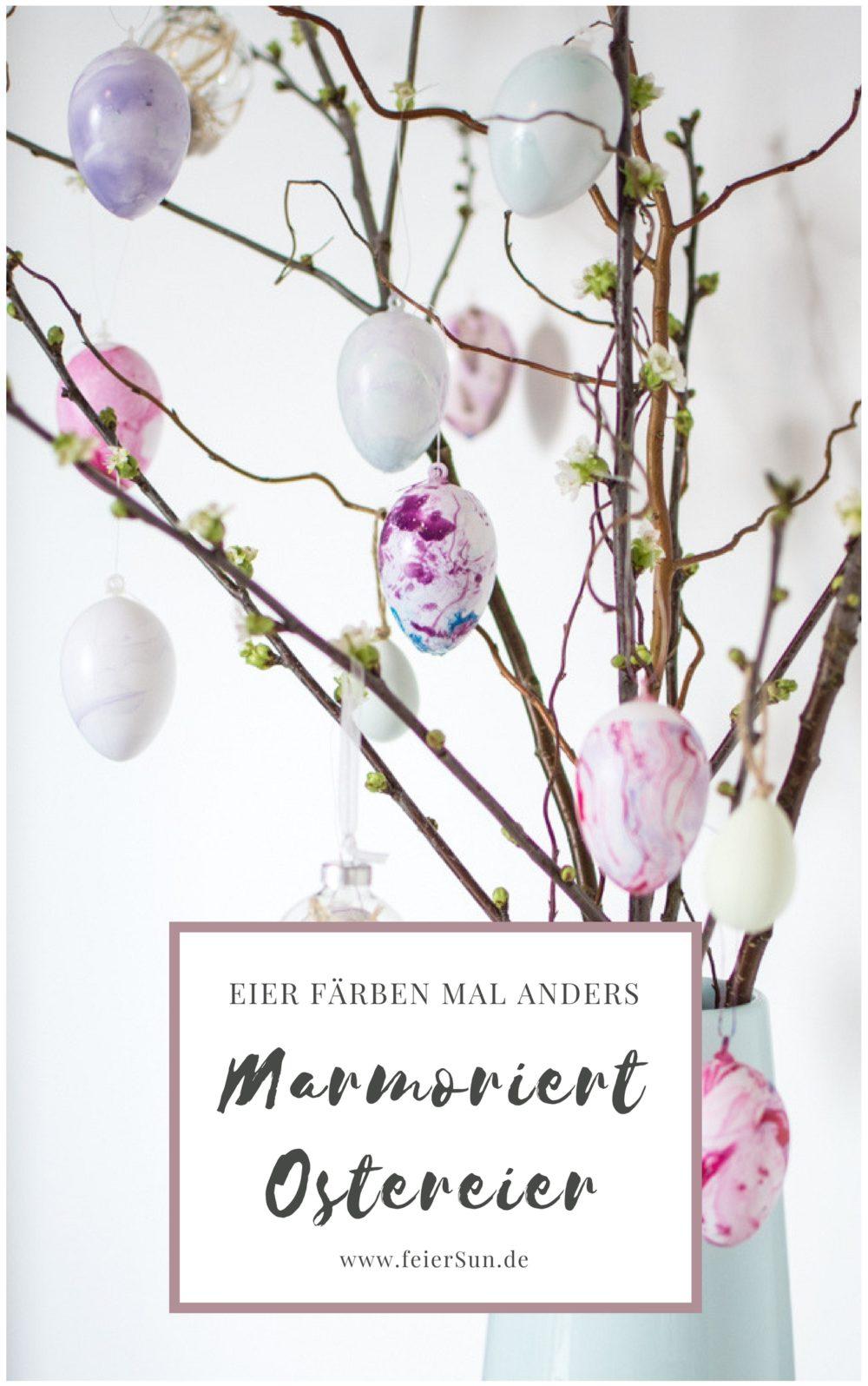 Der Oster - Trend 2018 | Ostereier färben mal anders: Mein DIY marmorierte Ostereier mit Nagellack ganz einfach selber machen und jedes Osterei ist ein Unikat. Haltbare Ostereier für jeden Geschmack. #feierSun #feierSunDIY #Ostereier #Ostern #selbermachen #Osterbasteln #DiY #bASTELNMITKINDERN