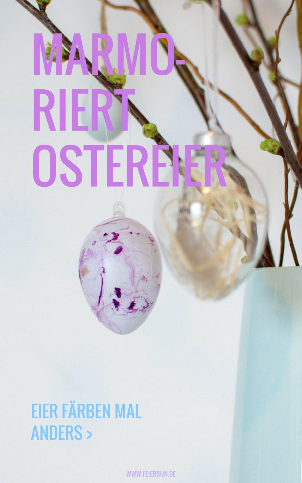 Ostereier färben mal anders: Mein DIY marmorierte Ostereier mit Nagellack ganz einfach selber machen und jedes Osterei ist ein Unikat. Haltbare Ostereier für jeden Geschmack. #feierSun #feierSunDIY #Ostereier #Ostern #selbermachen #Osterbasteln