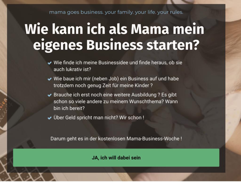 """Die Übersicht der Online Themenwoche """"Wie kann ich als Mama mein eigenes Business starten?"""" mit den Themenschwerpunkten."""