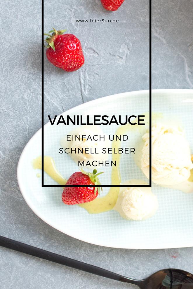 """Vegane Vanillesoße auf einem blauen Teller mit Erdbeeren und Vanille-Eis angerichtet und der Beschriftung """"Vanillesosse einfach und schnell selber machen""""von www.feiersun.de"""
