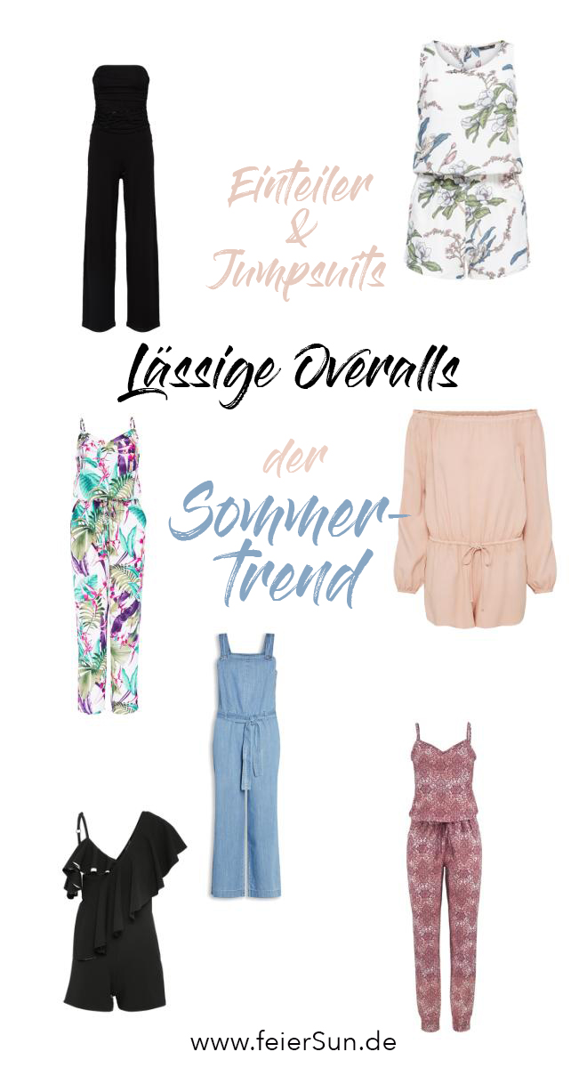Eine Collage mit tollen Overalls, Jumpsuits. Ob als lässige Overalls oder super schicker Einteiler, sie sind das Must Have des Sommertrends.