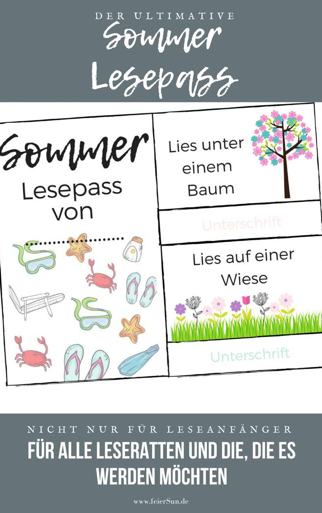 Auszug aus dem ultimativen Sommer-Lesepass für Schulkinder. Lesen macht spaß. Lesepass fuer die Sommerferien und darüber hinaus