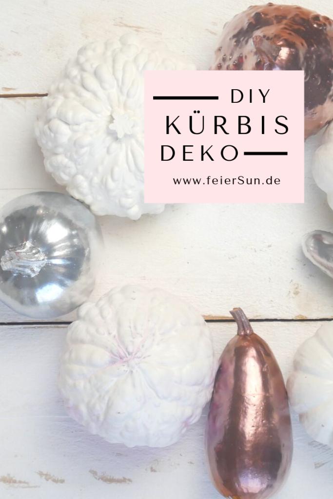 Herbst Deko |Blitzschnell herbstlich stilvolle Tischdeko herstellen: DIY Kürbis Kunst | mit Sprühfarben (kupfer, weiß, rosa Dekokürbisse besprühen. DiY Herbst Dekoration DIY Kürbis Kunst #kürbisdeko #herbstdeko #kürbissebesprühen #DIY