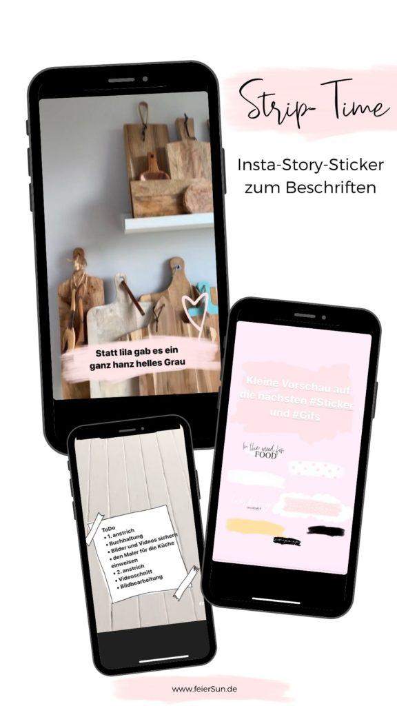 Strip-Time: Insta Story Sticker zum Beschreiben. Lade dir kostenlose Instagram Story Sticker herunter.  Story Stickers | Design Elemente kostenlos