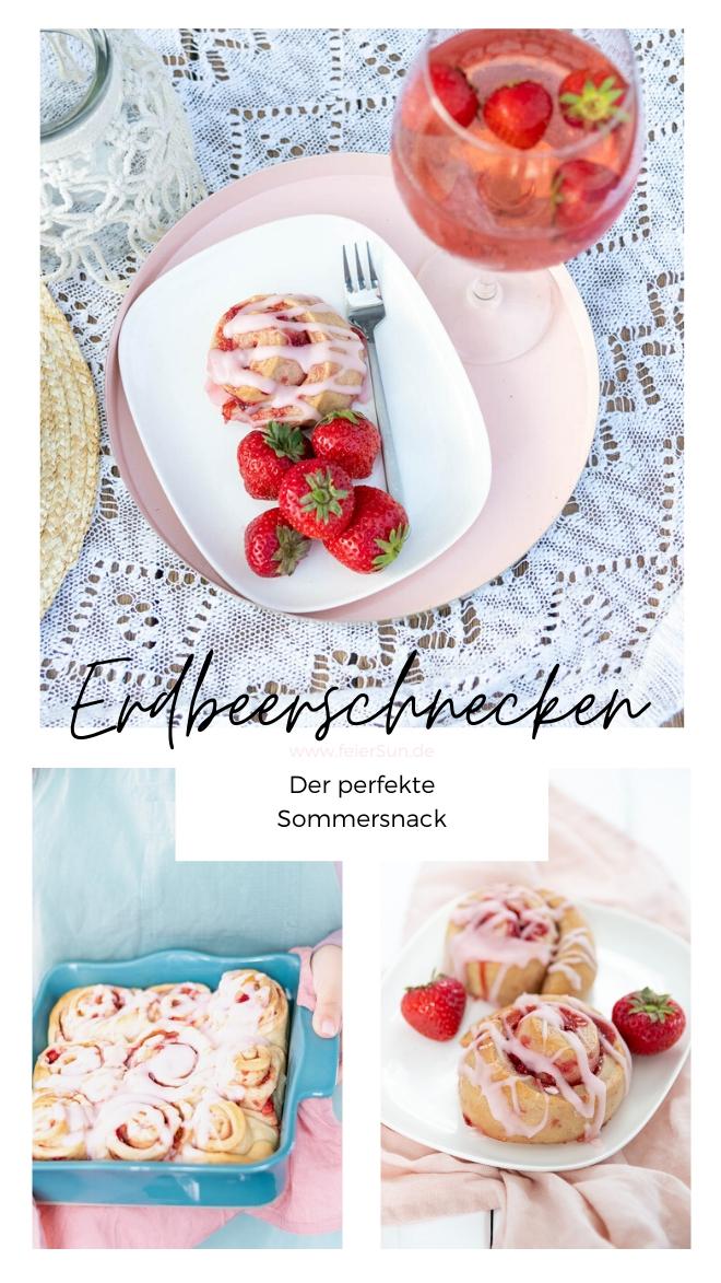 Diese sommerlichen, saftigen, weichen Hefeschnecken sind mit ihrer fruchtig-sommerliche Füllung aus frischen Erdbeeren und dem frischen Zuckerguss der perfekte Sommersnack. Erdbeer-Schnecken#feierSun #feierSunFood #Sommersnack #Erdbeerschnecken