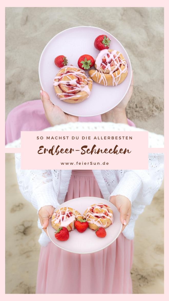 Hast du Lust auf ein Picknick am Strand? Dann hab ich die perfekten sommerlichen Erdbeer-Schnecken für dich. Super einfach, fruchtig, fluffig und mega lecker sind diese veganen Hefeschnecken. #feierSun #veganbacking #veganeHefeschnecken #feierSunFood