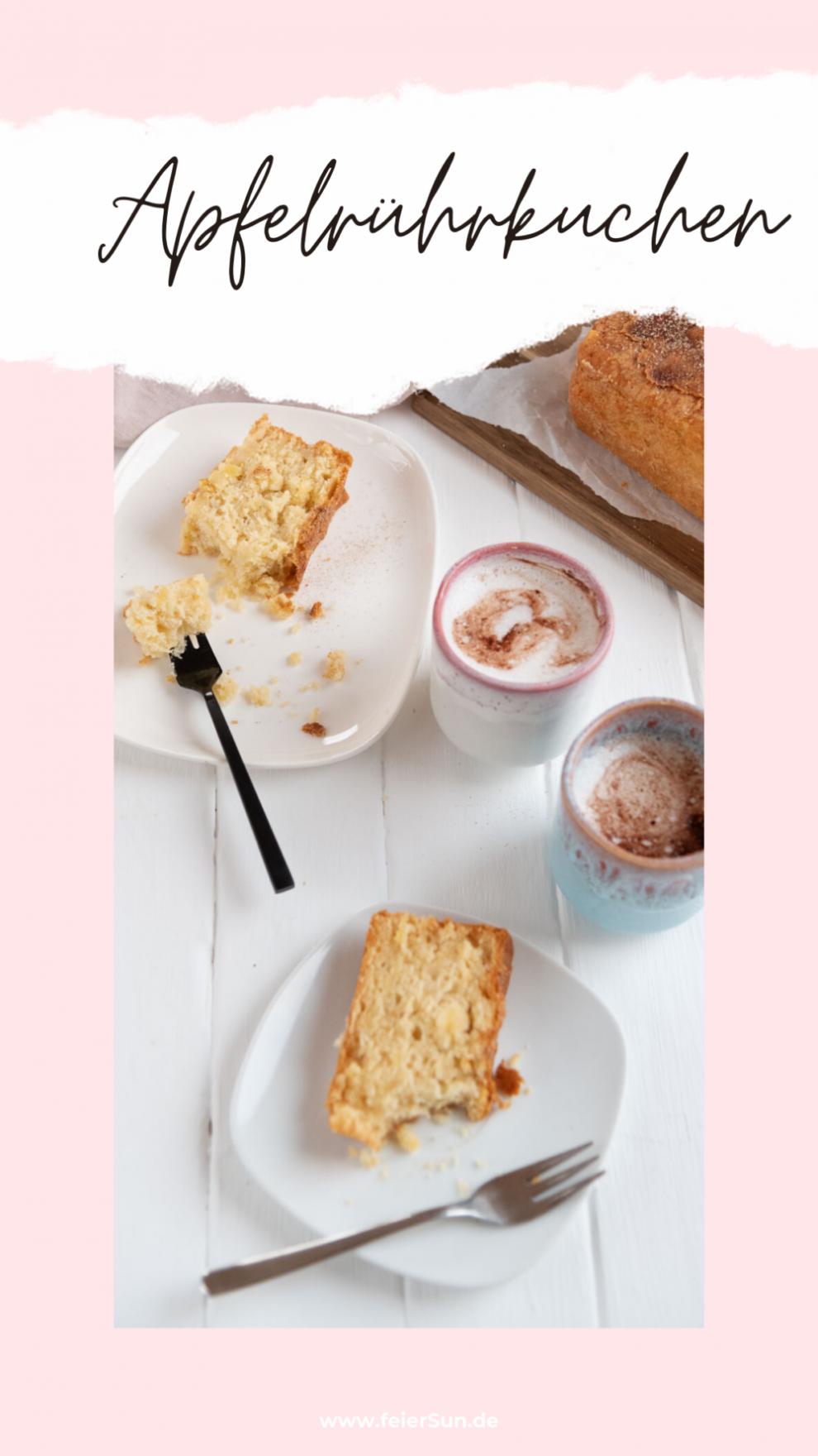 Apfelrührkuchen ist der perfekte Kuchen, nicht nur für Sonntags. Einfach und mit wenigen Handgriffen gemacht steht der saftige und leckere Apfel-Rührkuchen mit Zimtkruste auf dem Tisch. Milchfrei und einfach. #feierSun #Apfelrührkuchen #Rührkuchen #apfelkuchen